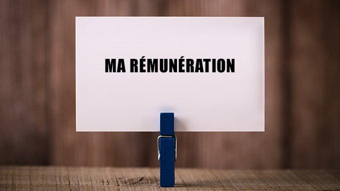 Pince à linge tenant une carte avec l'inscription « Ma rémunération »