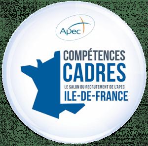 """Carte de France avec logo Apec et texte """"Compétences cadres le salon du recrutement de l'APE Ile-de-France"""""""