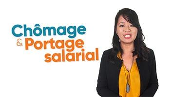 Femme présentant le chômage et Portage salarial