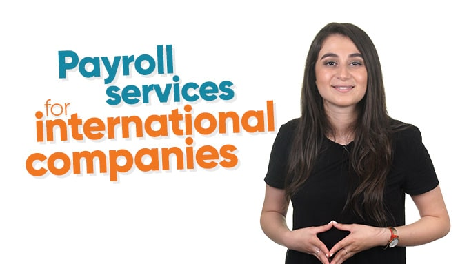Woman presenting payroll services for international companies