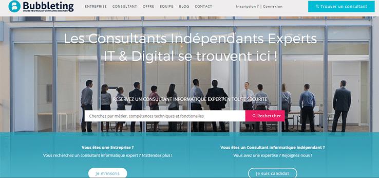 Screen shot de la page d'accueil du site https://www.bubbleting.com