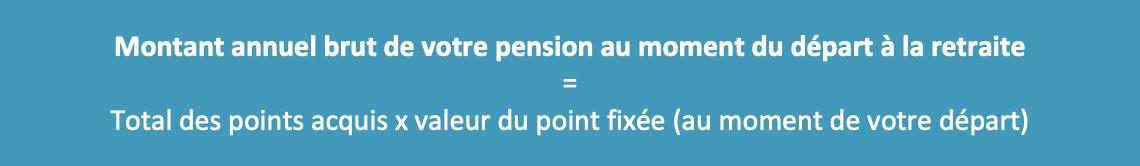 Montant annuel brut de la pension de retraite complémentaire