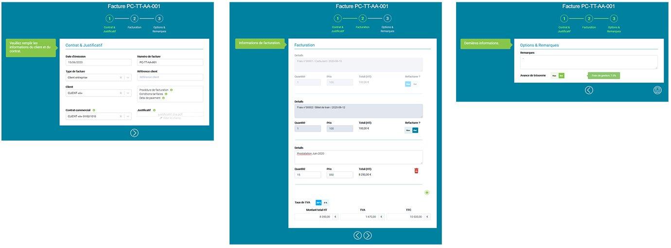 Interface de l'application Prium ONE de l'édition de facture en 3 étapes