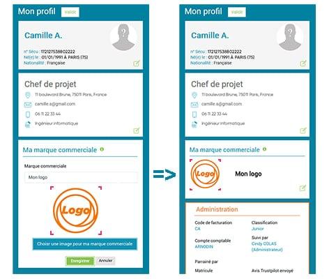 Présentation graphique de comment intégrer le logo de sa marque commerciale via l'interface Prium One de Prium Portage