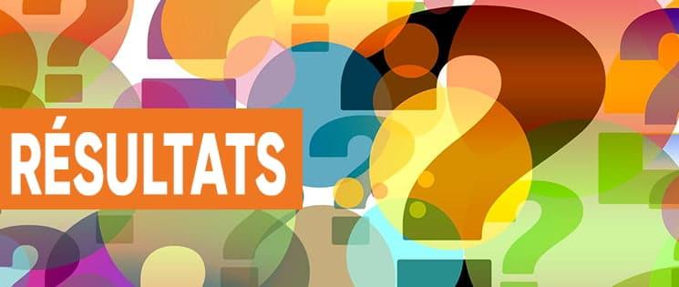 """Image de points d'interrogration de différentes couleurs. Par-dessus, le mot """"Résultats"""" à l'intérieur d'un rectangle orange."""