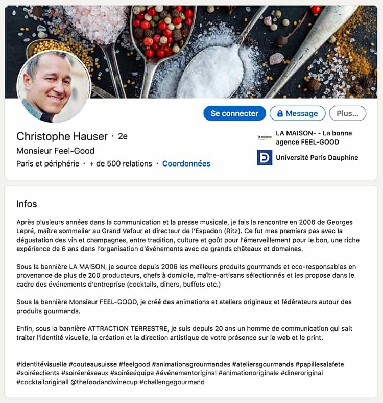 Page du profil Linkedin de Christophe Hauser