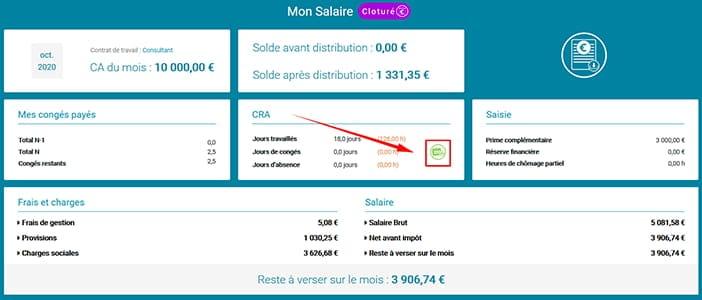 Une nouvelle interface Salaire avec accès vers la saisie du CRA, compte-rendu d'activité