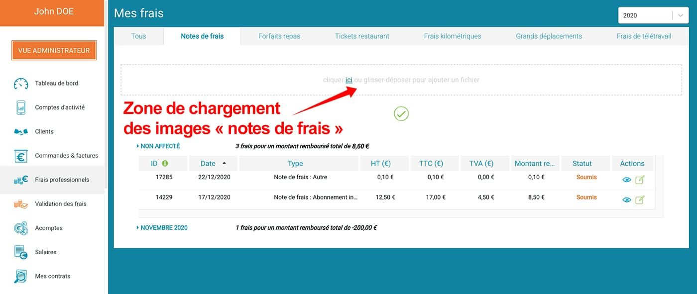 "Prium One : interface graphique ""Saisie notes de frais"", zone de saisie."