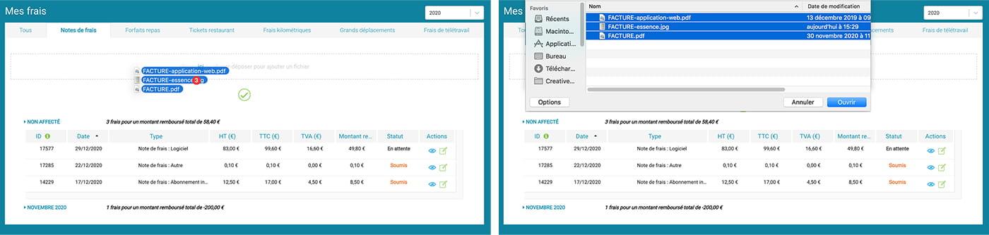"""Prium One : interface graphique """"Saisie notes de frais"""", dépôt des frais en click/drop."""