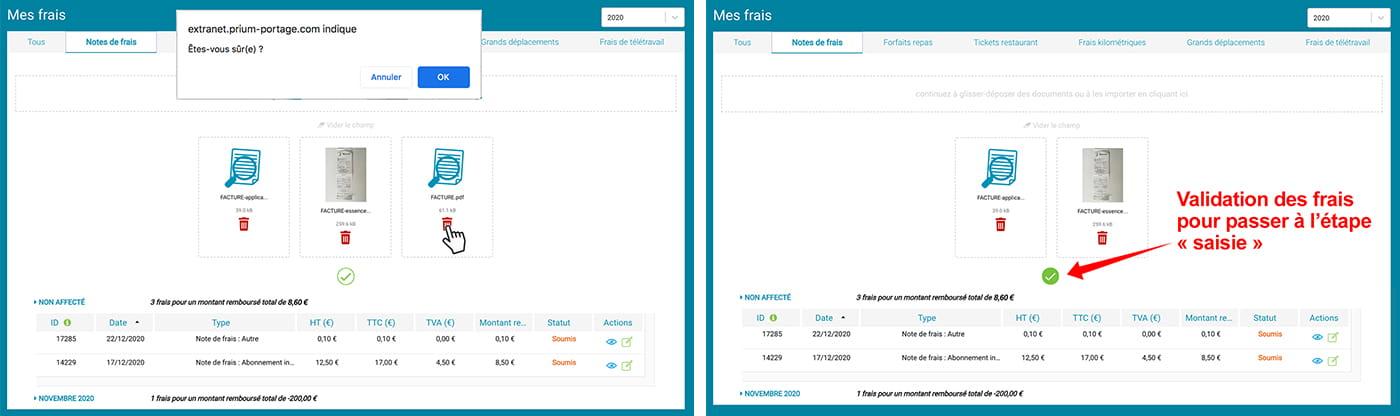 "Prium One : interface graphique ""Saisie notes de frais"", suppresion/validation."