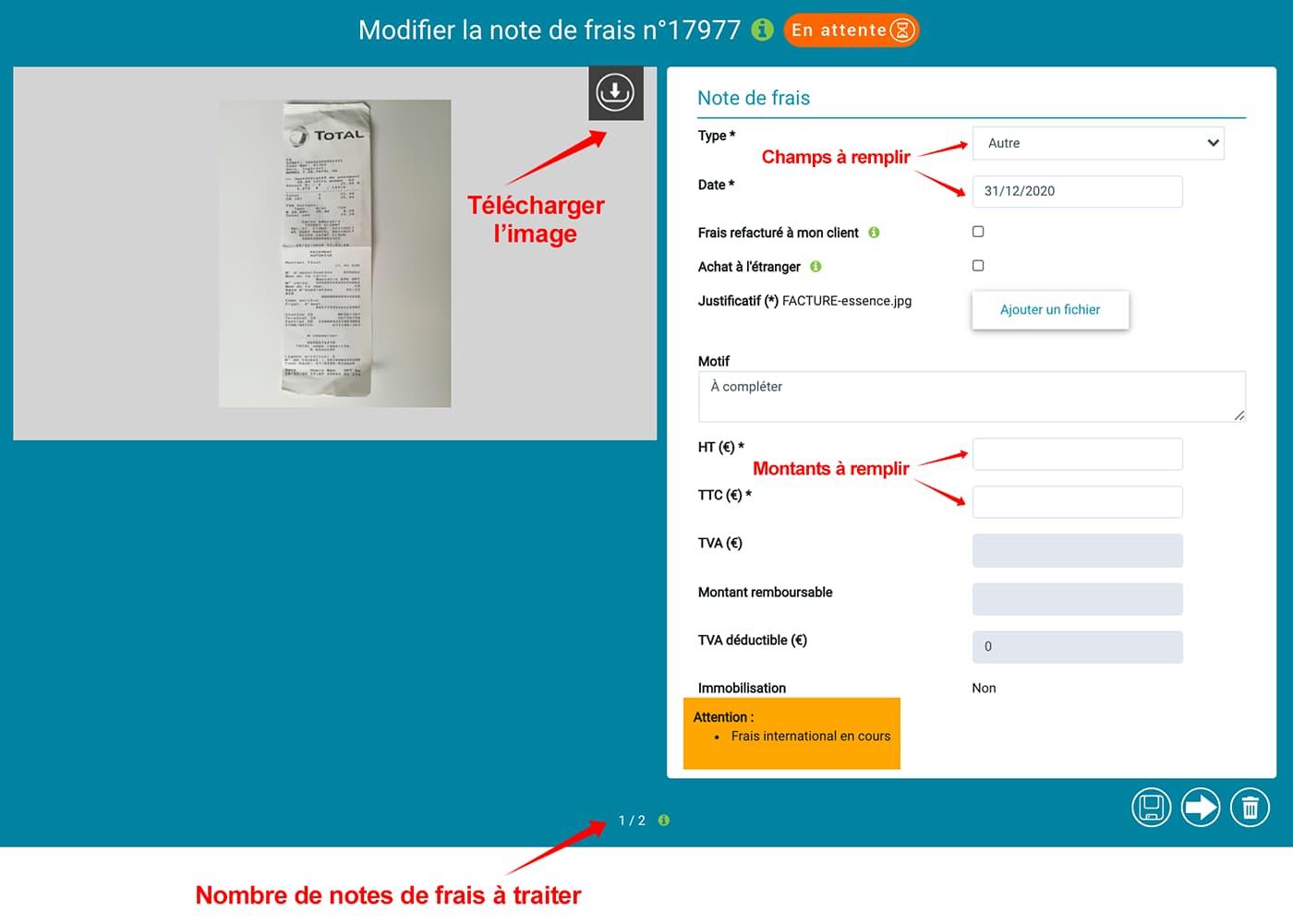 """Prium One : interface graphique """"Saisie notes de frais"""", les fonctions."""