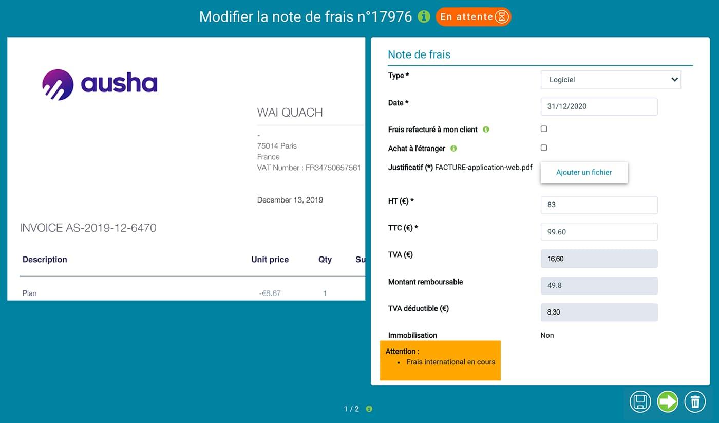 """Prium One : interface graphique """"Saisie notes de frais"""", soumettre et valider."""