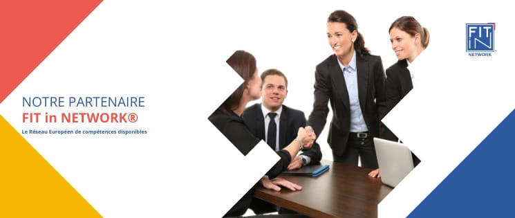 """Bandeau FIT in NETWORK® sur fond blanc avec la tagline """"Le Réseau Européen de compétences disponibles""""."""