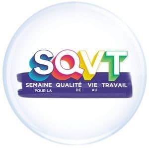 Logo en médaillon de la SQVT, Semaine pour la Qualité de Vie au Travail