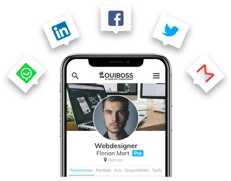 Les icônes What's App, Linkedin, Facebook, Twitter et Gmail entourent un smartphone dont l'écran affiche une page OUIBOSS