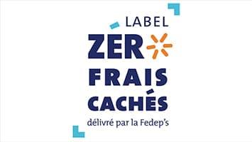 """Logo du label """"Zéro frais cachés"""" délivré par la Fedep's, association de défense des salariés portés"""