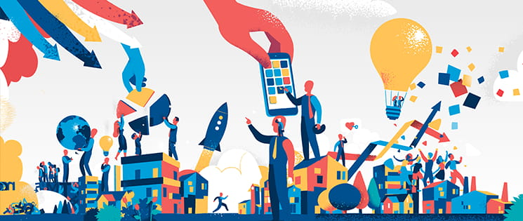 10 métiers d'avenir : une image graphique en couleur avec des personnages et un univers technologique : fusée, tablette, diagramme, ampoule en forme de montgolfière...