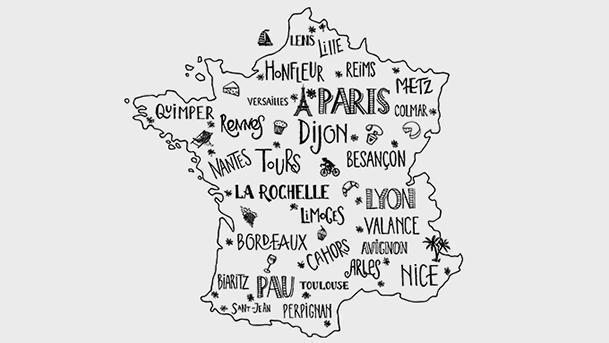Carte de la France sur fond blanc avec l'inscription des villes en toutes lettres : Paris, Dijon, Nice, Perpignan, Lyon, Lille, Quimper, Rennes, Bordeaux, biarritz, Avignon, Colmar, Reims, Nantes, Limoges...