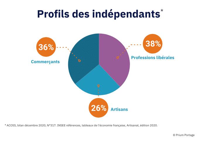 Sur fond blanc, pie chart des profils des indépendants
